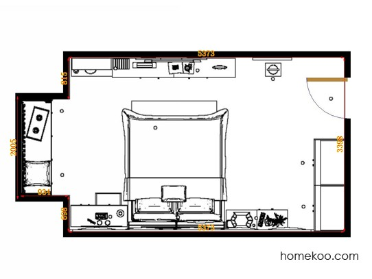 平面布置图德丽卡系列卧房A14415