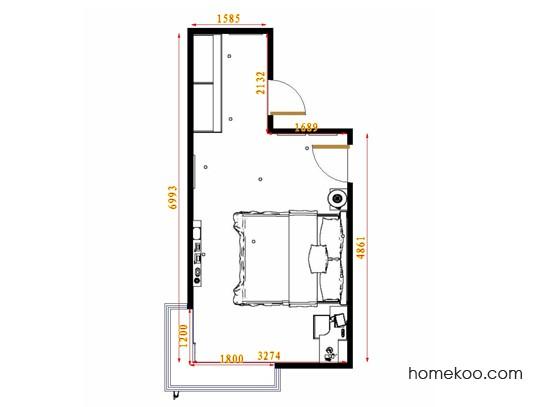 平面布置图德丽卡系列卧房A14428