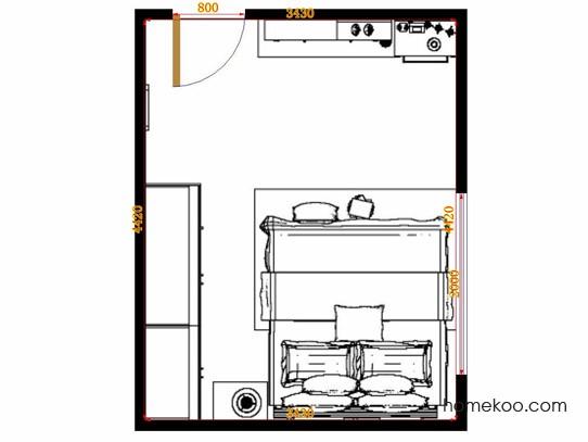 平面布置图德丽卡系列卧房A14481