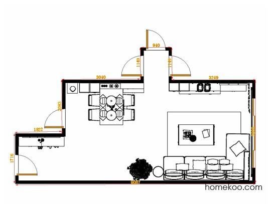 平面布置图德丽卡系列客餐厅G14576