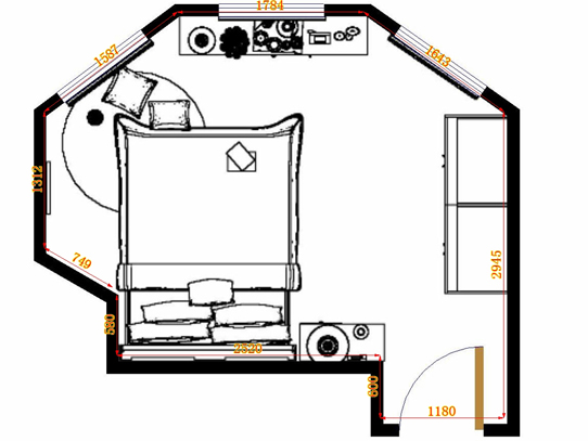 平面布置图格瑞丝系列卧房A14606