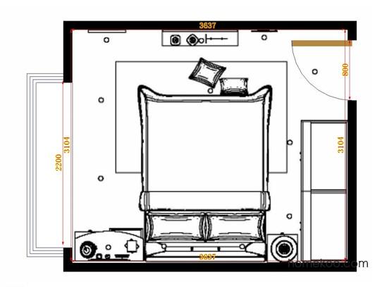 平面布置图柏俪兹系列卧房A14613