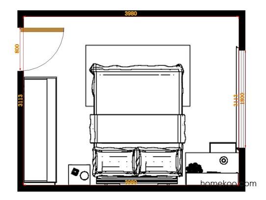 平面布置图德丽卡系列卧房A14652
