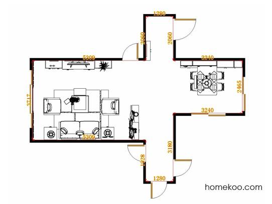 平面布置图斯玛特系列客餐厅G14753