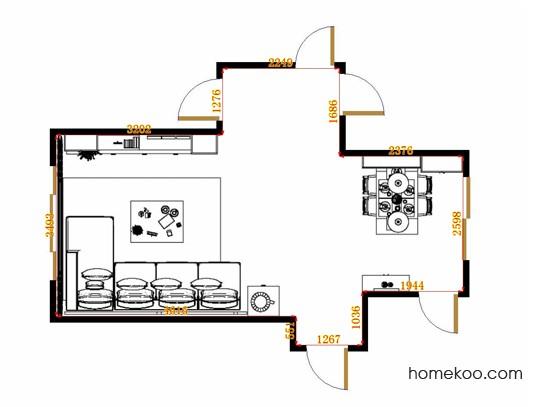 平面布置图德丽卡系列客餐厅G14789