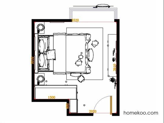 平面布置图格瑞丝系列卧房A14720