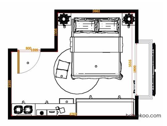 平面布置图德丽卡系列卧房A14724