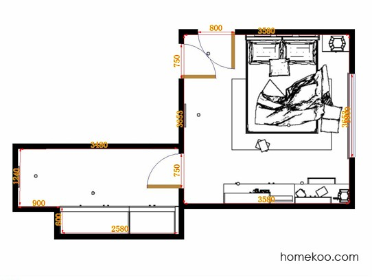 平面布置图柏俪兹系列卧房A14741
