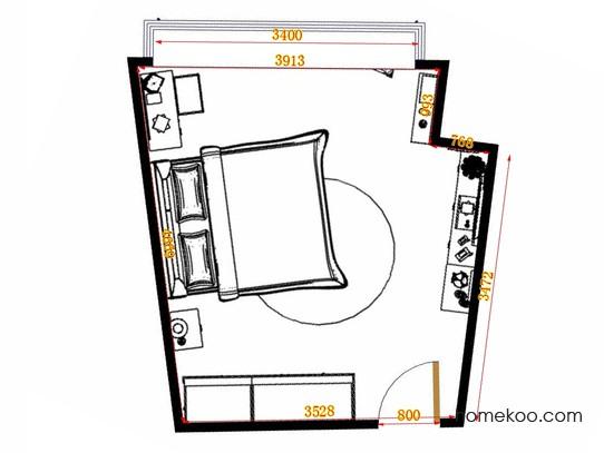平面布置图德丽卡系列卧房A14804