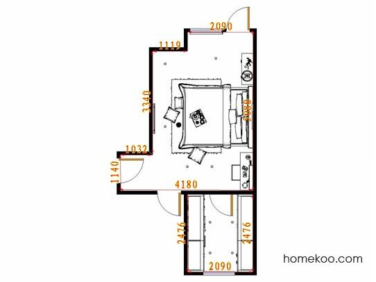 平面布置图格瑞丝系列卧房A14890