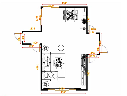 平面布置图柏俪兹系列客餐厅G14978