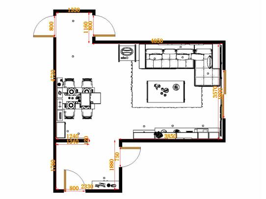 平面布置图德丽卡系列客餐厅G15004