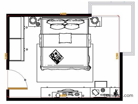 平面布置图德丽卡系列卧房A14939