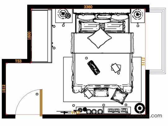 平面布置图德丽卡系列卧房A14948