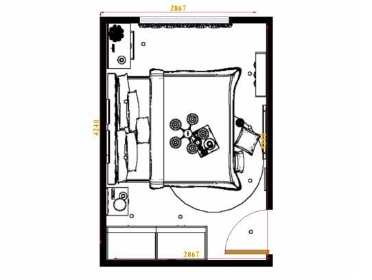 平面布置图德丽卡系列卧房A14963
