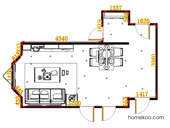 平面布置图柏俪兹系列客餐厅G15084