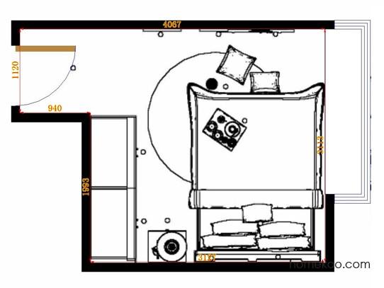 平面布置图北美枫情卧房A15101