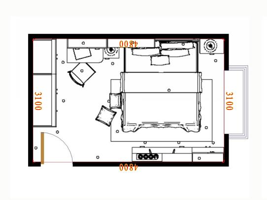 平面布置图中国韵卧房A15140
