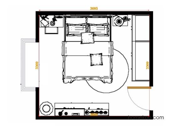 平面布置图北美枫情卧房A15300