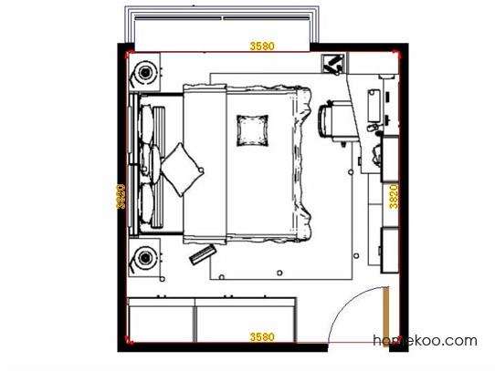 平面布置图中国韵卧房A15329