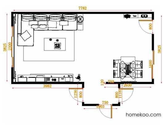 平面布置图加州梦客餐厅G15352