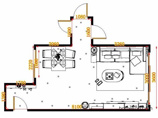 平面布置图米兰剪影客餐厅G15361