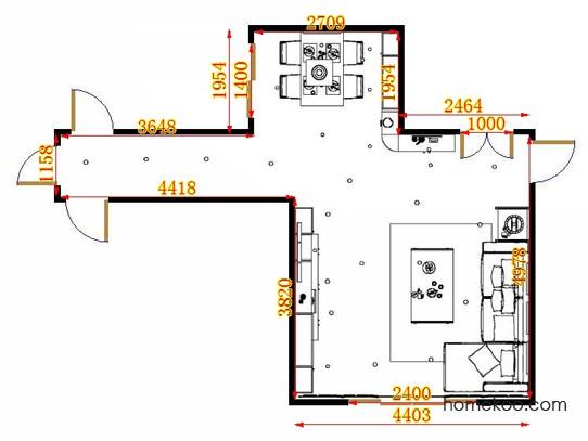 平面布置图米兰剪影客餐厅G15385