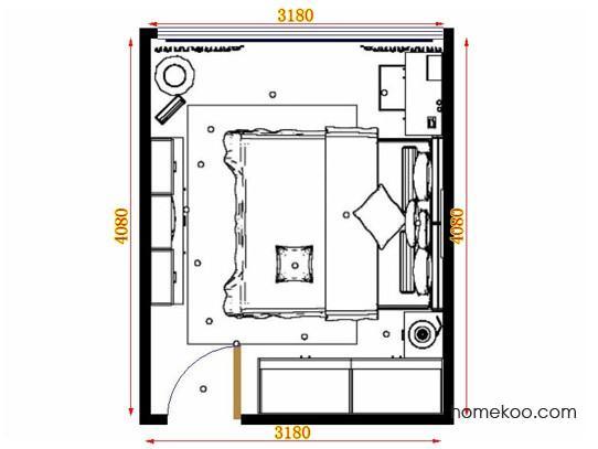 平面布置图中国韵卧房A15442