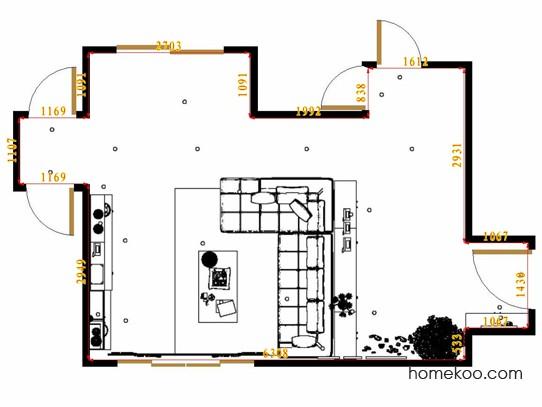 平面布置图斯玛特系列客厅D14350