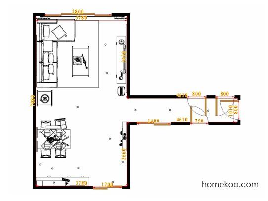 平面布置图米兰剪影客餐厅G15478