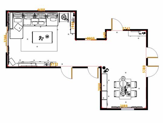 平面布置图米兰剪影客餐厅G15482
