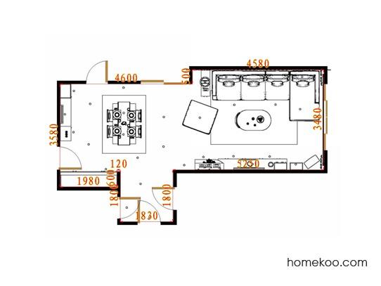 平面布置图米兰剪影客餐厅G15557