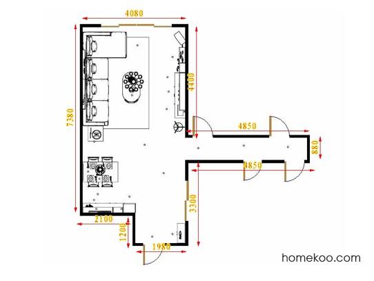 平面布置图米兰剪影客餐厅G15621