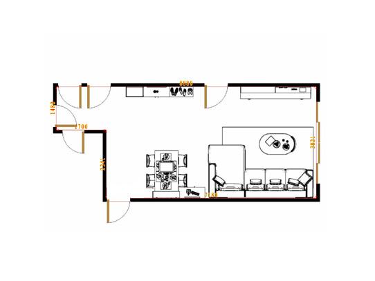 平面布置图挪威月色客餐厅G15679