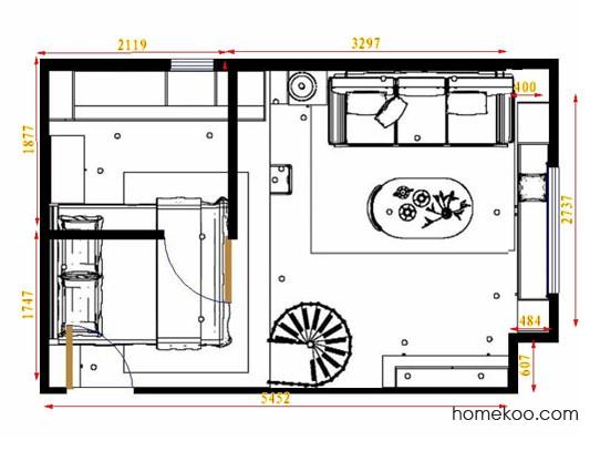 平面布置图米兰剪影单身公寓0005