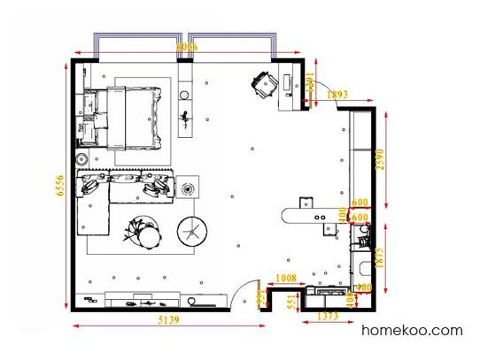 平面布置图格瑞丝系列单身公寓16383