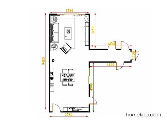 平面布置图斯玛特系列客餐厅G16458