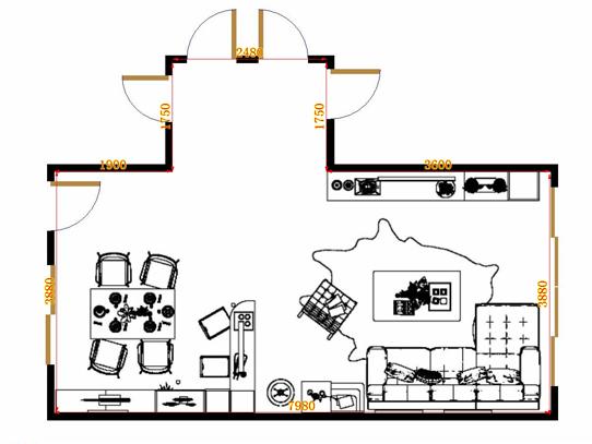 平面布置图德丽卡系列客餐厅G16510