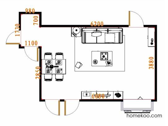 平面布置图德丽卡系列客餐厅G16603