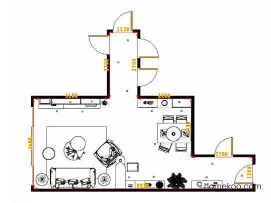 平面布置图斯玛特系列客餐厅G16615