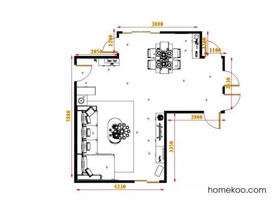 平面布置图米兰剪影客餐厅G16640