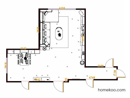 平面布置图米兰剪影客餐厅G16809
