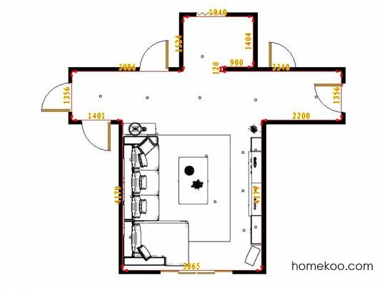 平面布置图贝斯特系列客厅D16826