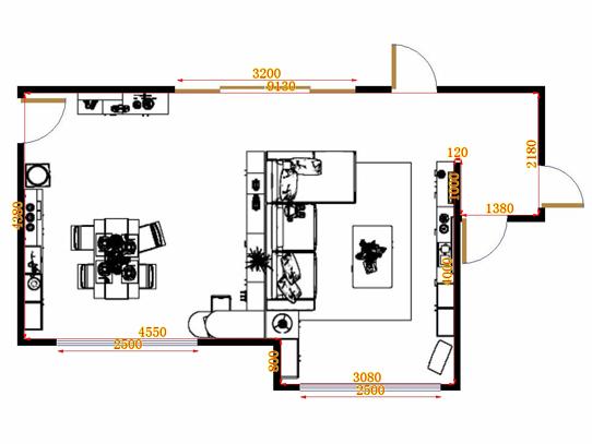 平面布置图德丽卡系列客餐厅G17029