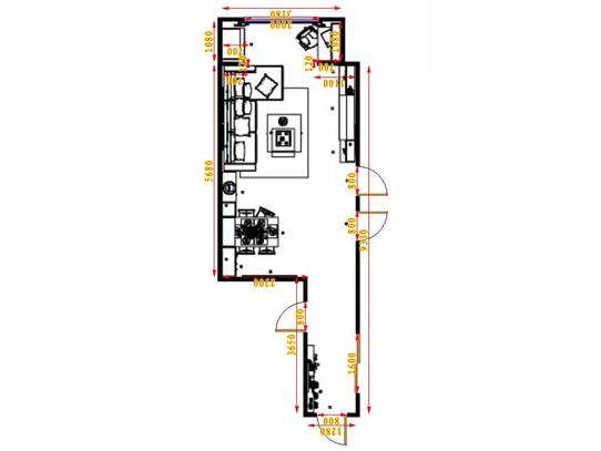 平面布置图斯玛特系列客餐厅G17063