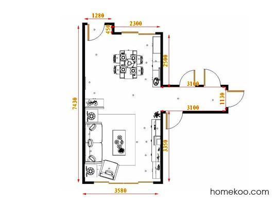 平面布置图斯玛特系列客餐厅G17074