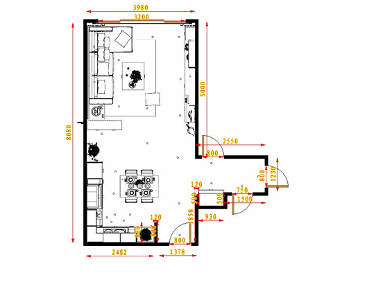 平面布置图德丽卡系列客餐厅G17092