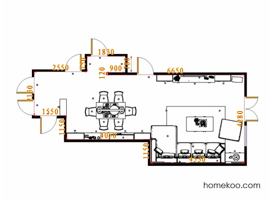 平面布置图挪威月色客餐厅G17104