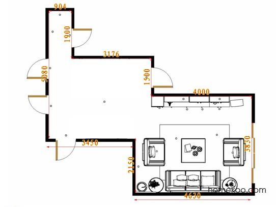 平面布置图德丽卡系列客厅D16865