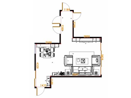 平面布置图柏俪兹系列客餐厅G17144